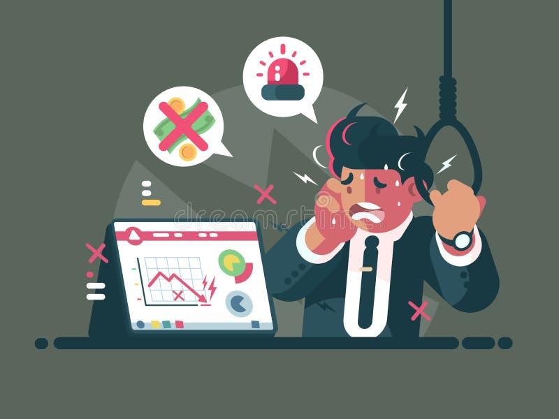 Торговец в панике и тревожности иллюстрация штока