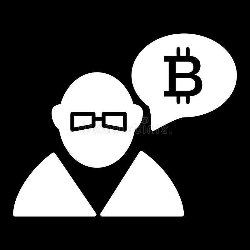 Торговец, персона, обмен, значок твердого тела bitcoin Иллюстрация вектора изолированная на черноте дизайн стиля глифа, конструир бесплатная иллюстрация