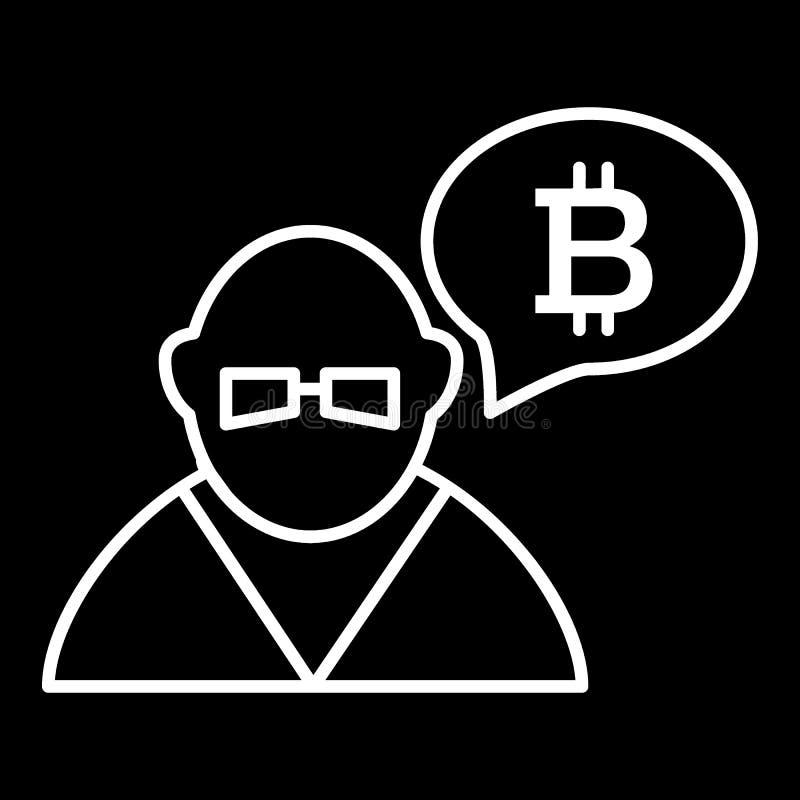 Торговец, персона, обмен, линия значок bitcoin Иллюстрация вектора изолированная на черноте дизайн стиля плана, конструированный  бесплатная иллюстрация