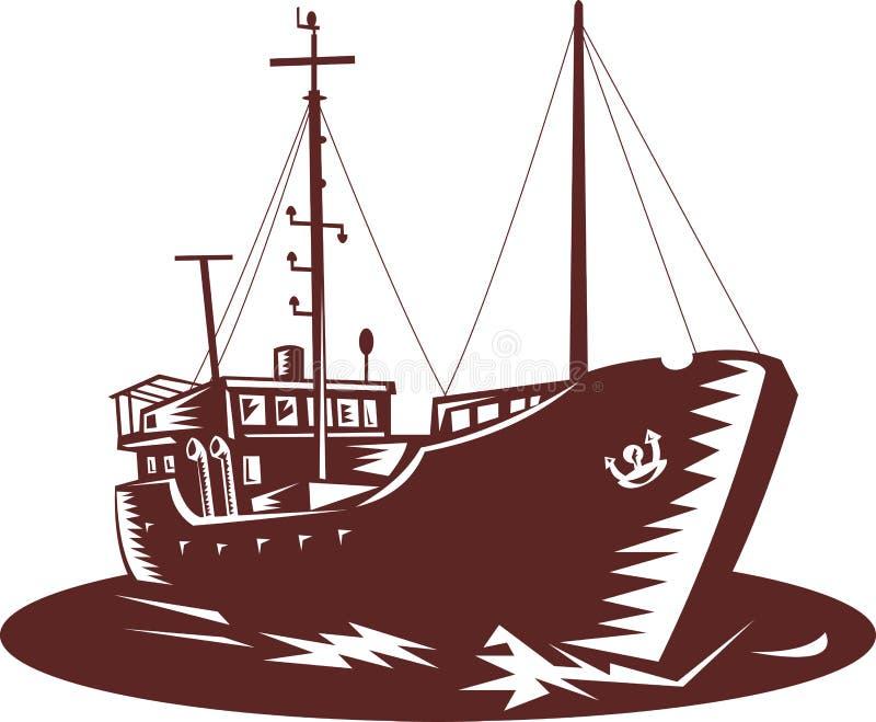 торговец рыболовства шлюпки прибрежный бесплатная иллюстрация