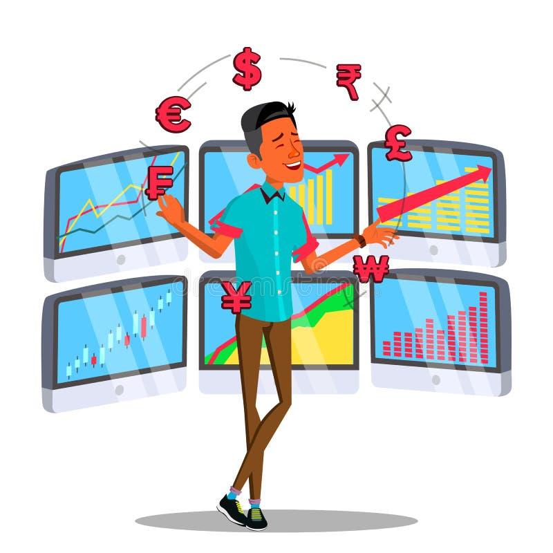 Торговец характера онлайн жонглирует вектором валюты иллюстрация штока