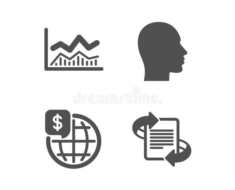 Торговое infochart, деньги мира и главные значки Выходя на рынок знак Анализ возможностей производства и сбыта, мировые рынки, че иллюстрация вектора