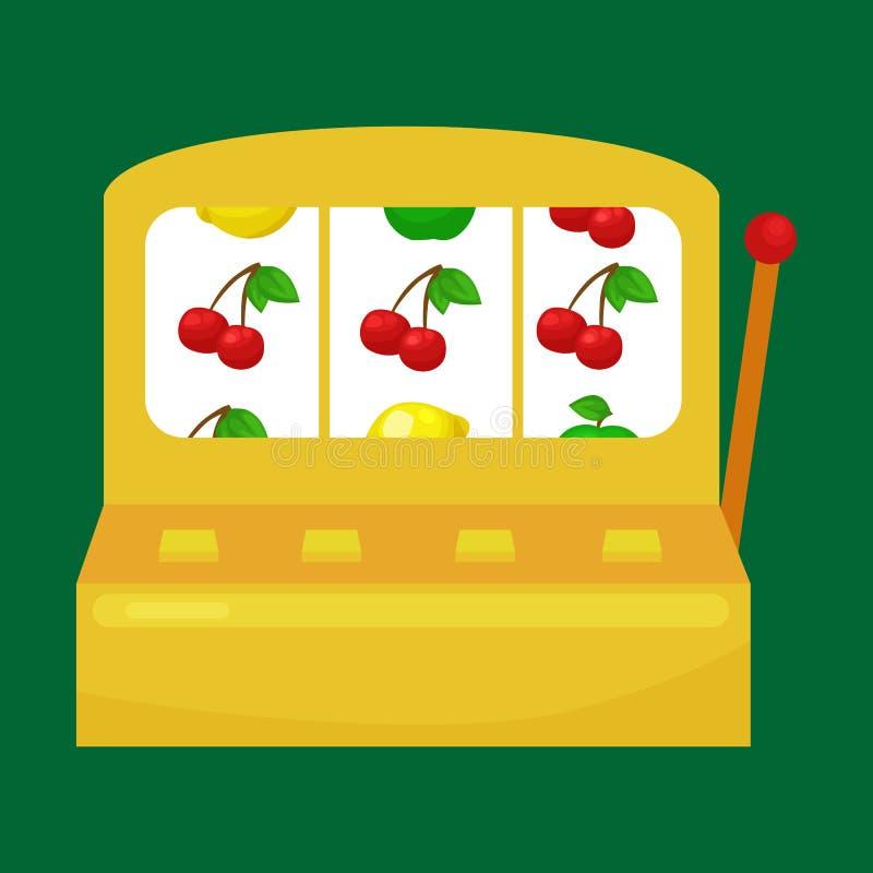 Торговый автомат с 3 7 s на зеленой предпосылке выиграйте значок, риск и игру играя в азартные игры казино внутри, вектор иллюстрация вектора