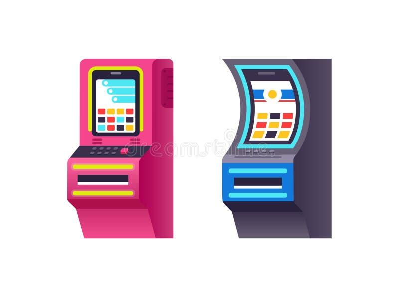 Торговый автомат, электронная виртуальная игра с делать виртуальные пункты, бонусы иллюстрация вектора