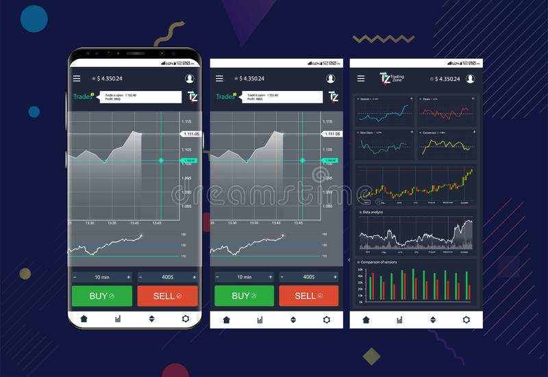 Торговый обмен app на экранах телефона иллюстрация вектора