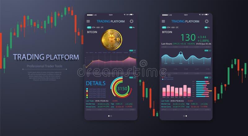 Торговый обмен app на экране телефона Передвижное ui cryptocurrency банка Онлайн вектор eps 10 интерфейса торговли акциями бесплатная иллюстрация