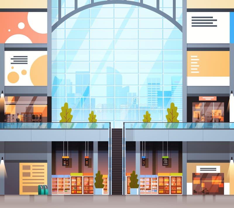 Торговый центр современного магазина розничной торговли внутренний без людей иллюстрация вектора
