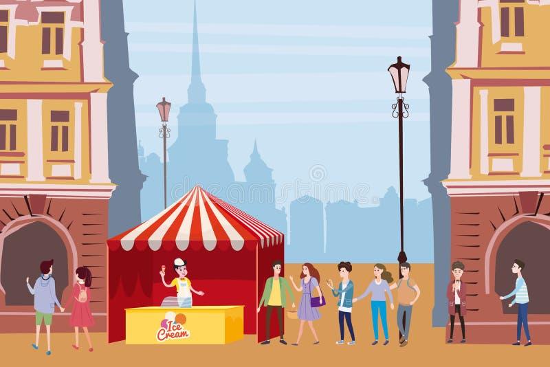 Торговый шатер, счетчик мороженого, продавец под сенью, внешний состав, город, продавая мороженое, пить, мозоль, быстрая иллюстрация штока