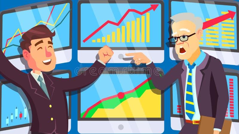 Торгуя рынок, активно крича люди в деловых костюмах на векторе экрана изолированная иллюстрация руки кнопки нажимающ женщину стар иллюстрация вектора