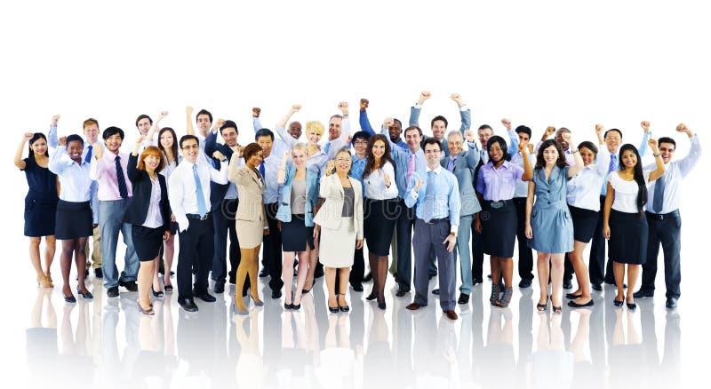 Торжества толпы успеха бизнесмены концепции команды стоковые фото