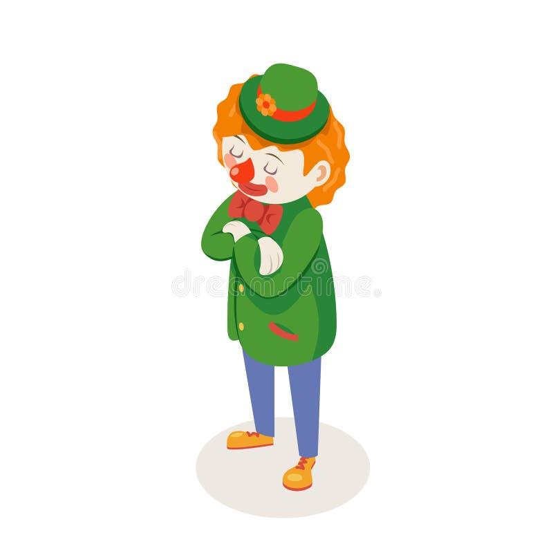 Торжественная слушая ждать иллюстрация вектора дизайна шаржа партии потехи шутки цирка клоуна равновеликим изолированная характер иллюстрация штока