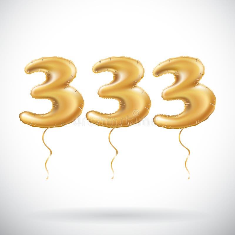 Торжество годовщины вектора 333 с гениальными воздушными шарами золота & красочным живым confetti 100 тридцать три 3d иллюстраций бесплатная иллюстрация