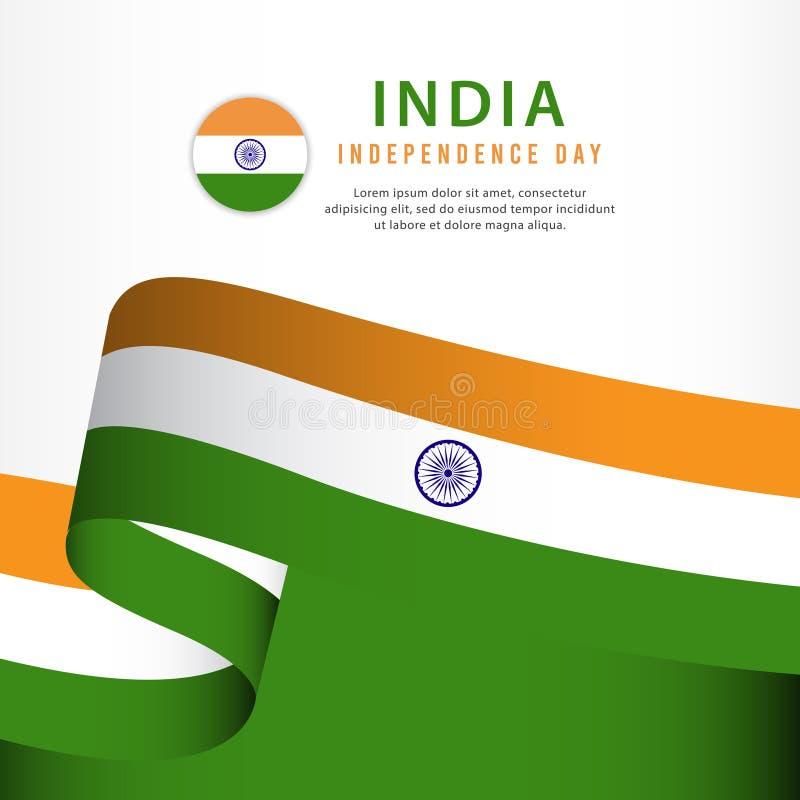 торжество Дня независимости Индии, иллюстрация шаблона вектора установленного дизайна знамени иллюстрация штока