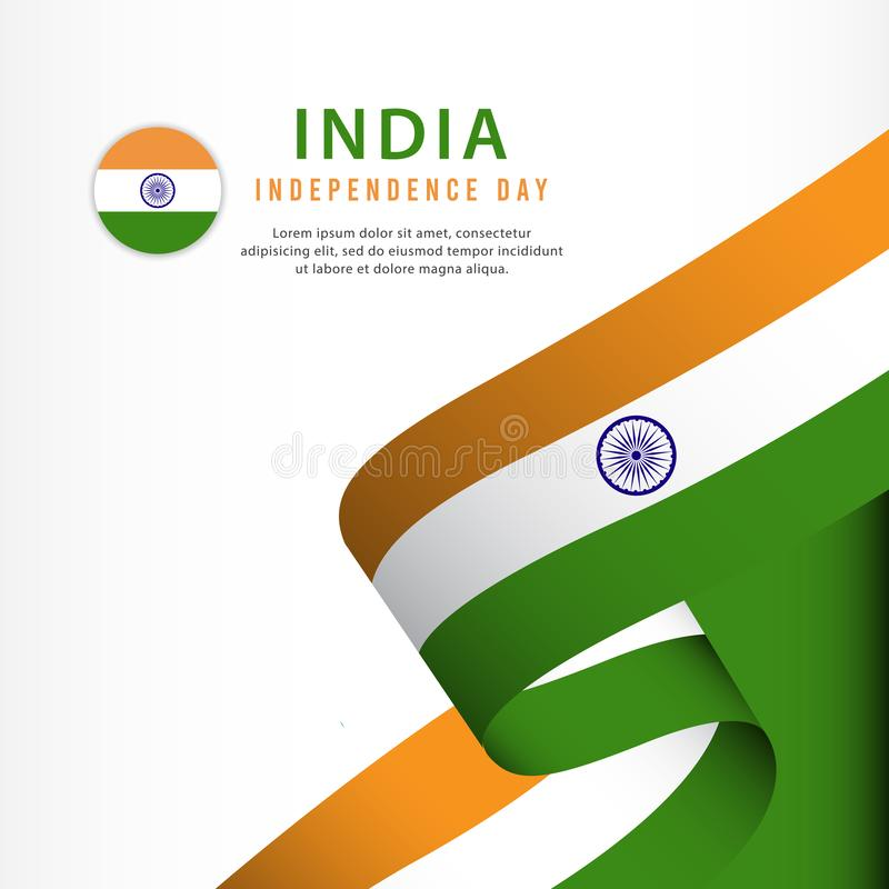 торжество Дня независимости Индии, иллюстрация шаблона вектора установленного дизайна знамени иллюстрация вектора