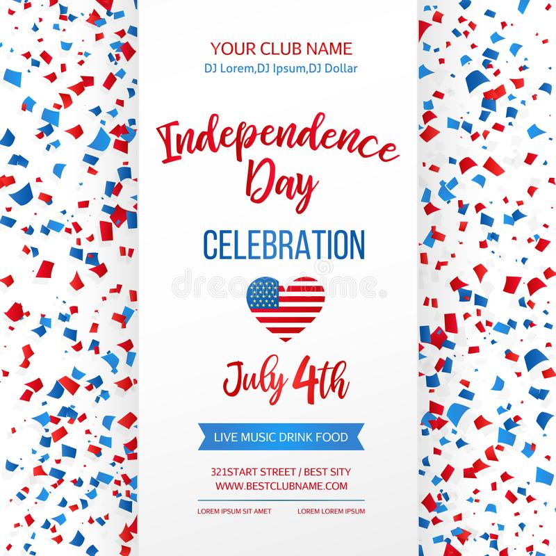 Торжество Дня независимости четвертое -го июль Традиционная американская поздравительная открытка праздника, плакат, рогулька зна бесплатная иллюстрация