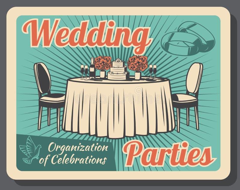 Торжество замужества, организация свадебного банкета иллюстрация штока