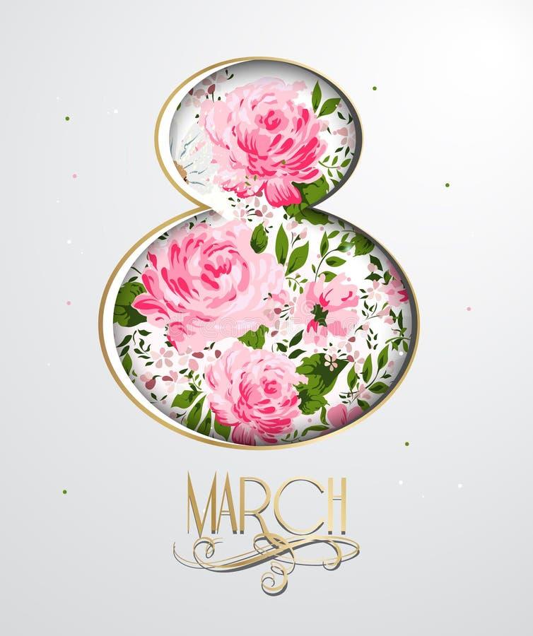 Торжество 8-ое марта с флористическим символом 8 Поздравительная открытка дня женщин вектор бесплатная иллюстрация