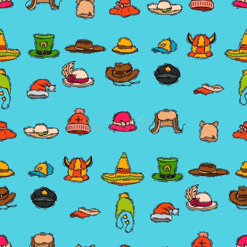 Торжество партии аксессуара моды шляпы различного праздника carnaval для предпосылки картины одежды masquerad безшовной иллюстрация штока