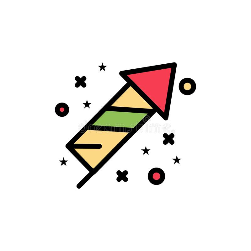 Торжество, праздненство, фейерверки, значок цвета праздника плоский Шаблон знамени значка вектора иллюстрация штока
