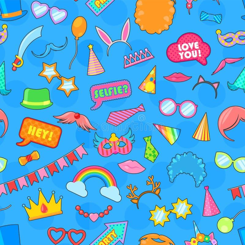 Торжество рождения детей мультфильма годовщины вектора значка дня рождения счастливое со смешными масками стекел и шляпами дня ро иллюстрация вектора