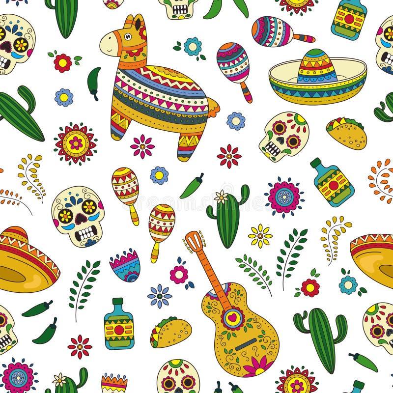Торжество Cinco de Mayo в Мексике Собрание doodle шаржа возражает для парада Cinco de Mayo с pinata, maracas иллюстрация вектора