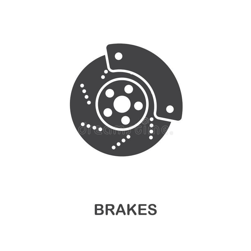 Тормозит творческий значок Простая иллюстрация элемента Дизайн символа концепции тормозов от собрания частей автомобиля Смогите б бесплатная иллюстрация