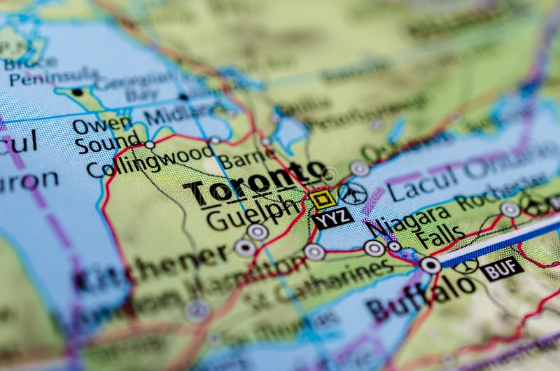 Торонто на карте стоковые изображения