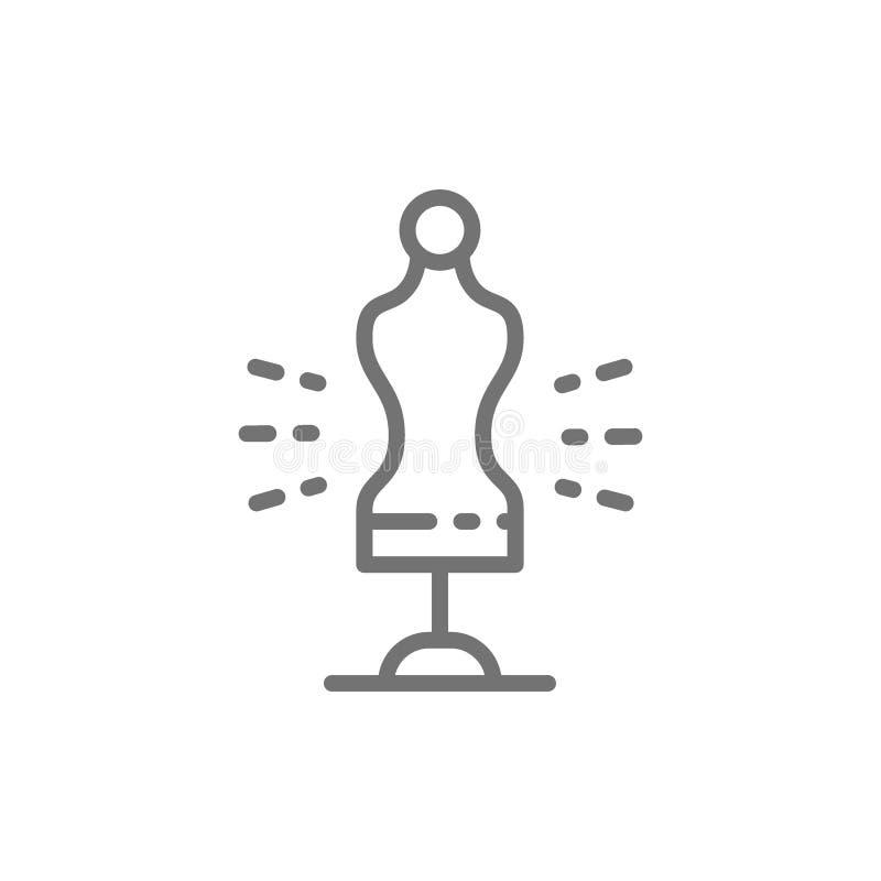 Торс манекена портноя, шить линия значок манекена иллюстрация вектора