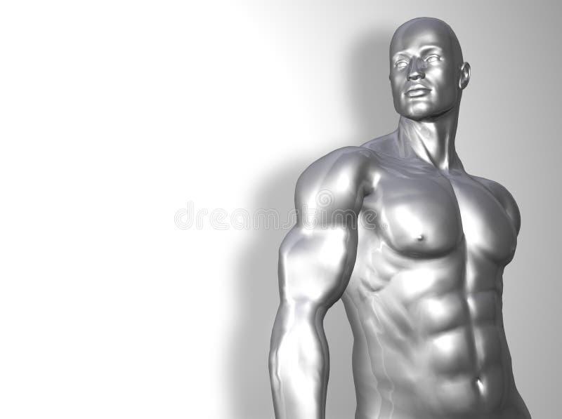 торс человека серебряный