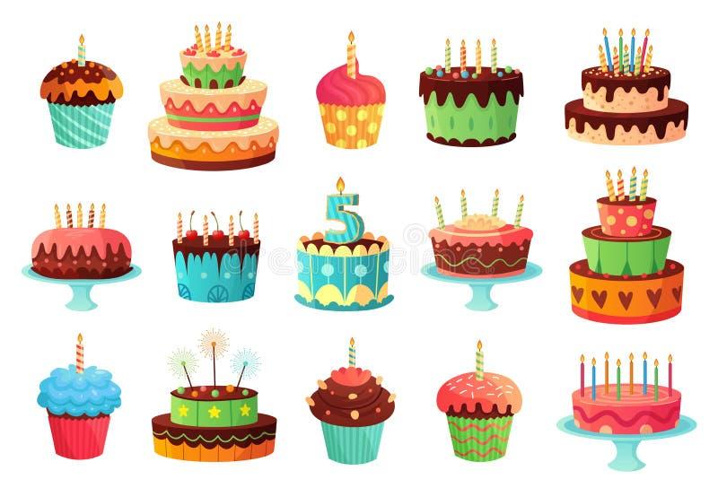 Торты дня рождения мультфильма Сладкий испеченный торт, красочные пирожные и набор иллюстрации вектора тортов торжества бесплатная иллюстрация