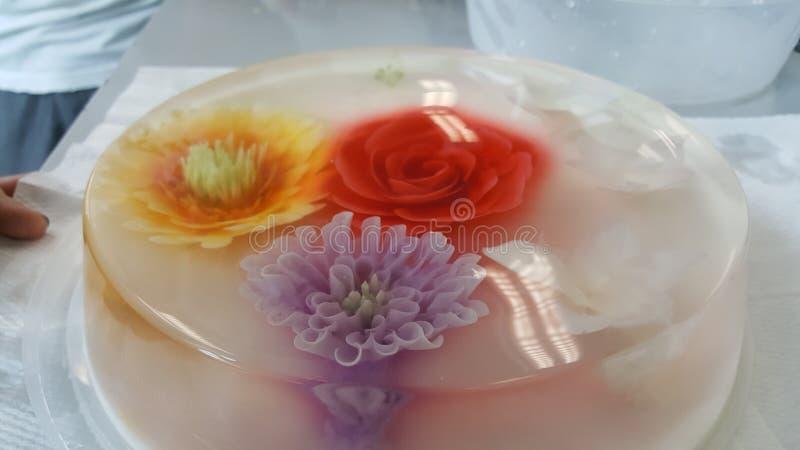 Торты торта студня цветка красочные стоковая фотография
