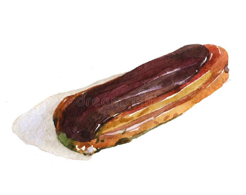 Торт акварели, eclair изолированный на белой предпосылке иллюстрация штока