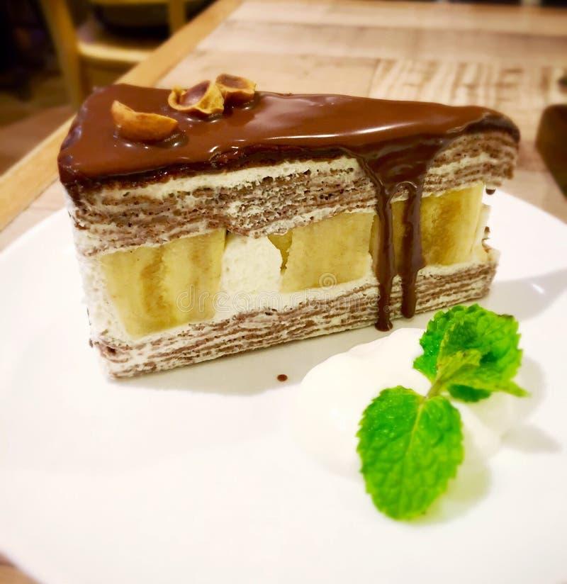 Торт банана шоколада стоковое изображение rf