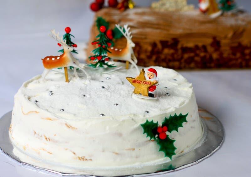 Торт белого рождества стоковое фото rf