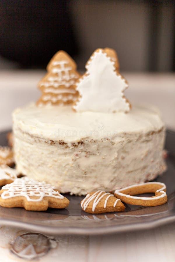 Торт белого рождества стоковые изображения rf