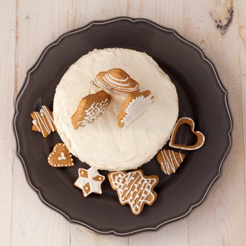 Торт белого рождества стоковое изображение rf