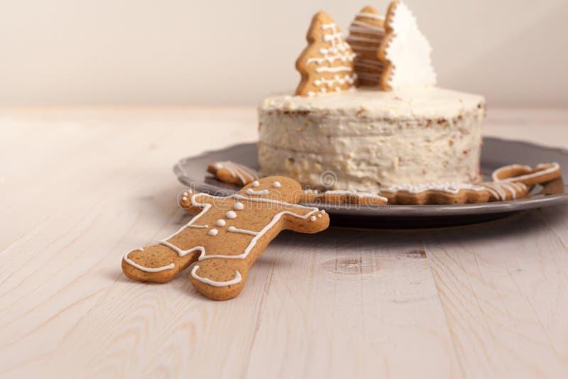 Торт белого рождества стоковое изображение