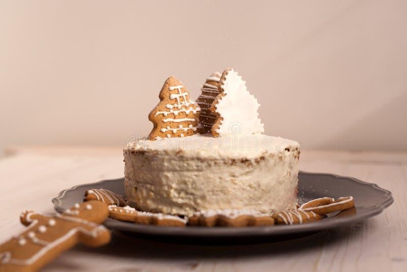 Торт белого рождества стоковая фотография