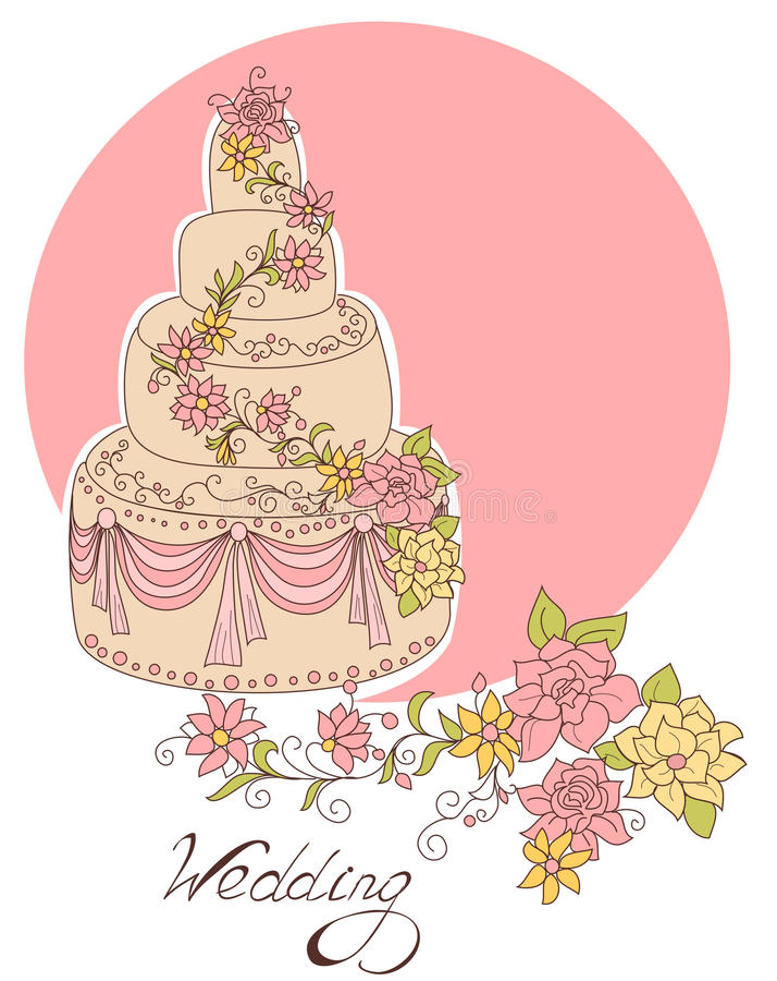 Торт венчания иллюстрация вектора