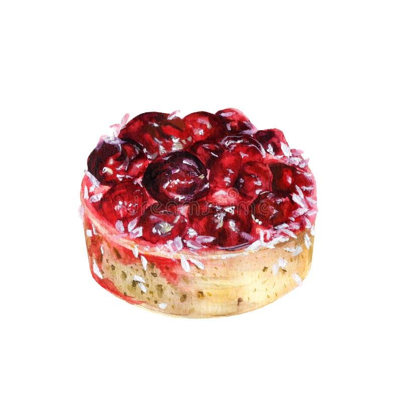 Торт вишни акварели иллюстрация штока