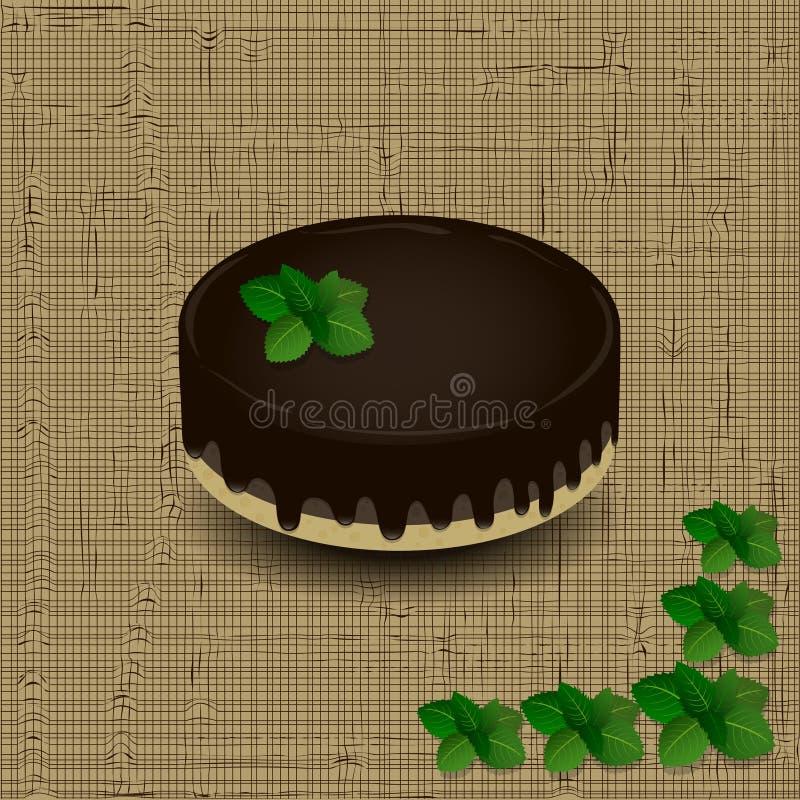 Торт губки с замороженностью шоколада заморосил с sprig мяты на предпосылке текстуры иллюстрация вектора