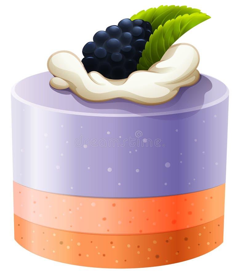 Торт ежевики с сливк иллюстрация вектора