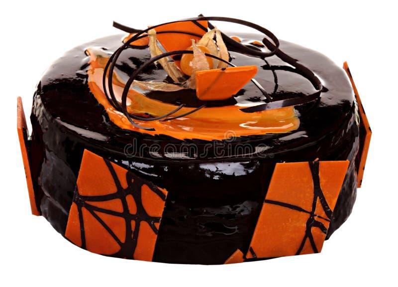 Download Торт изолированный на белой предпосылке Торт с шоколадом, плодоовощ и сливк Стоковое Изображение - изображение насчитывающей brougham, плодоовощ: 40587729