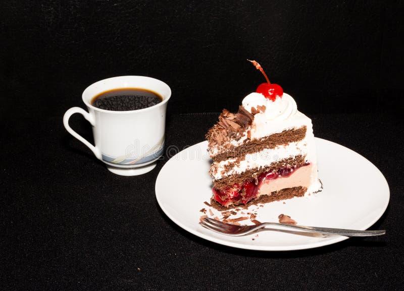Торт и кофе черного леса стоковые изображения rf