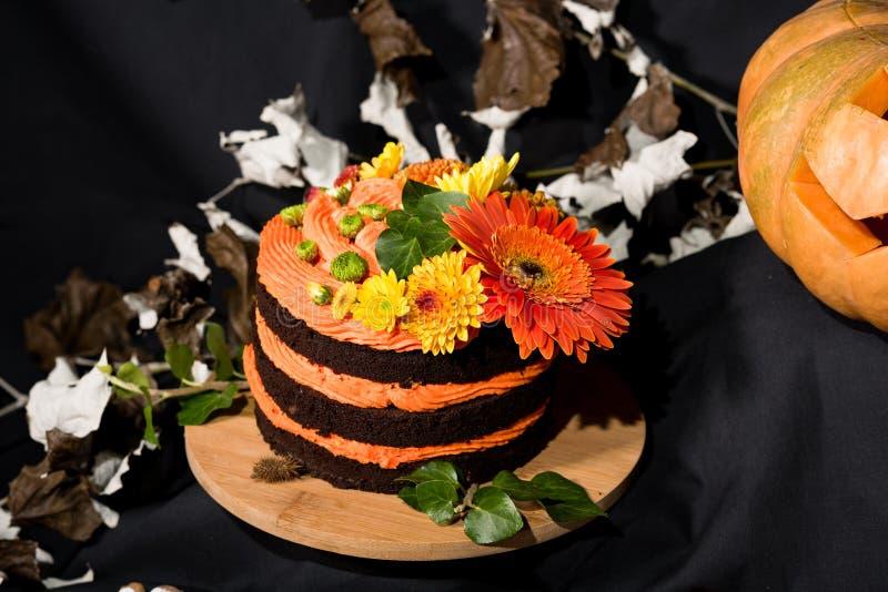 Торт и тыква Helloweens стоковые изображения rf