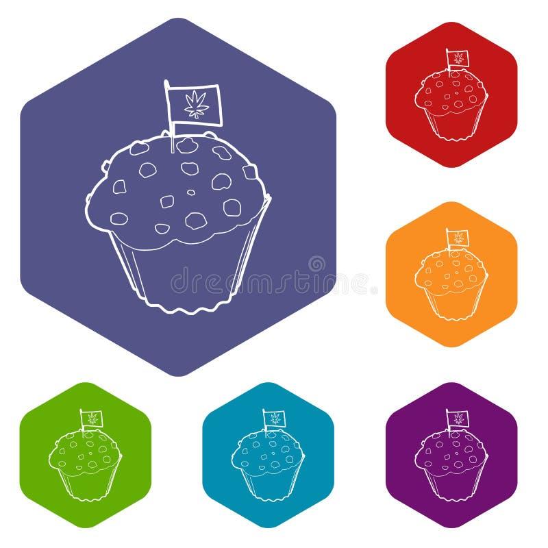 Торт и флаг с hexahedron вектора значков лист марихуаны бесплатная иллюстрация