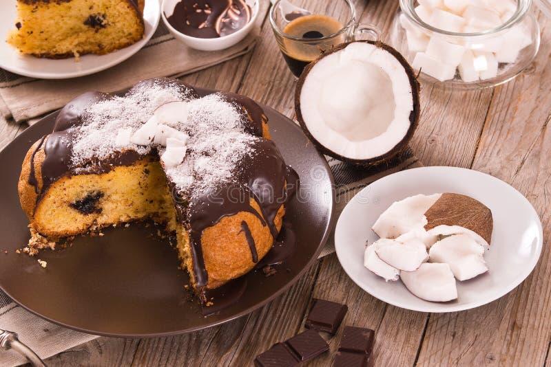 Торт кокоса шоколада стоковое фото