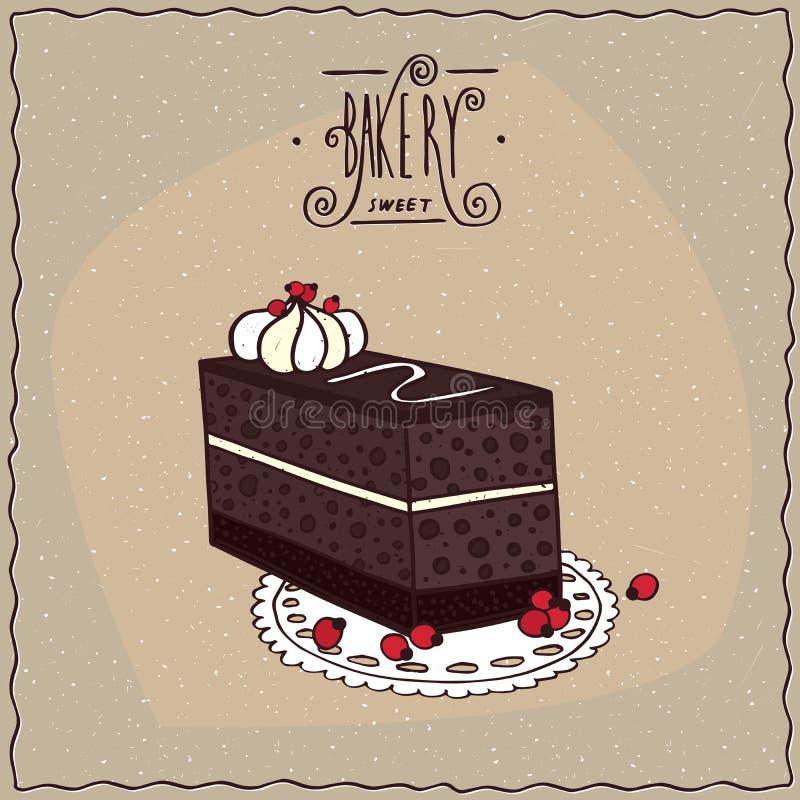 Торт кофе шоколада с печеньем на кружевной салфетке бесплатная иллюстрация
