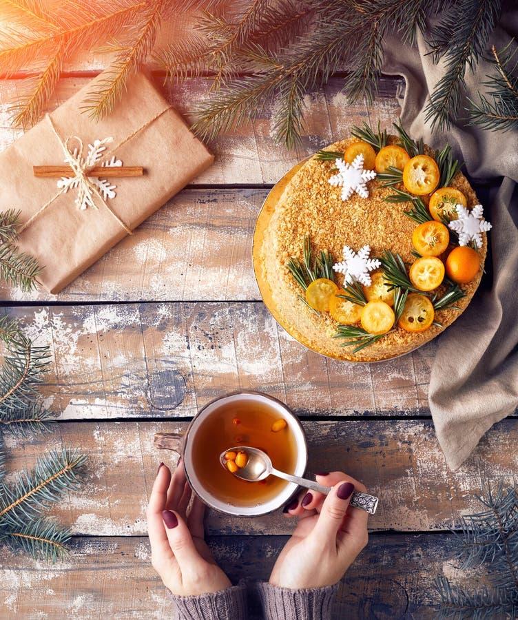Download Торт меда на рождестве стоковое фото. изображение насчитывающей женщина - 106251542