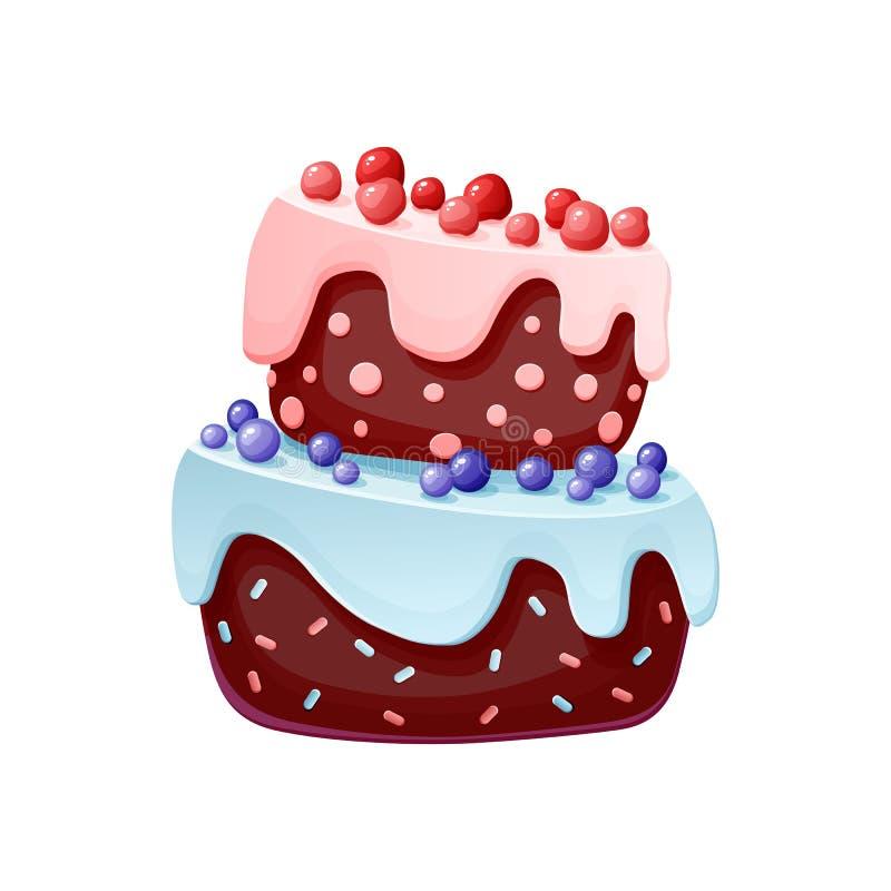 Торт милого мультфильма праздничный Печенье шоколада с вишнями и голубиками для партий, дни рождения Изолированный элемент иллюстрация вектора